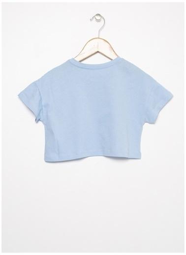Limon Company Limon Mavi Kız Bisikilet Yaka Yazı Baskılı Çocuk T-Shirt Mavi